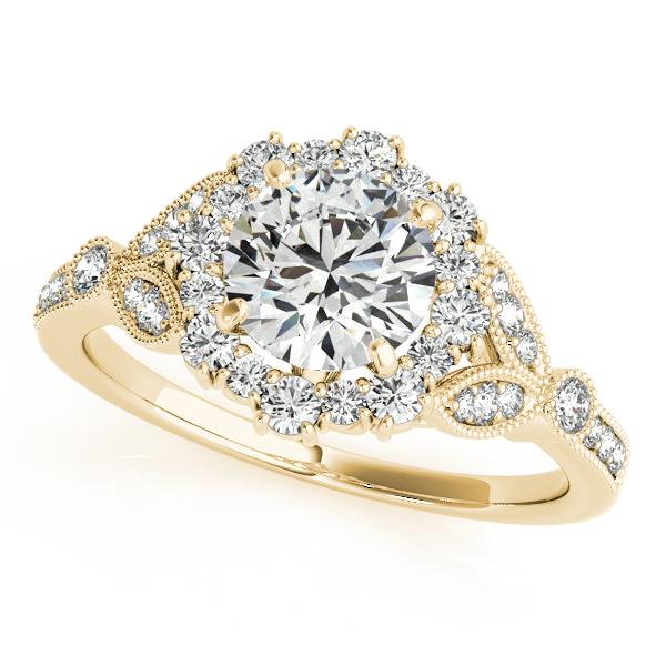 Luxury Vintage Halo Engagement Ring with Milgrain Edges