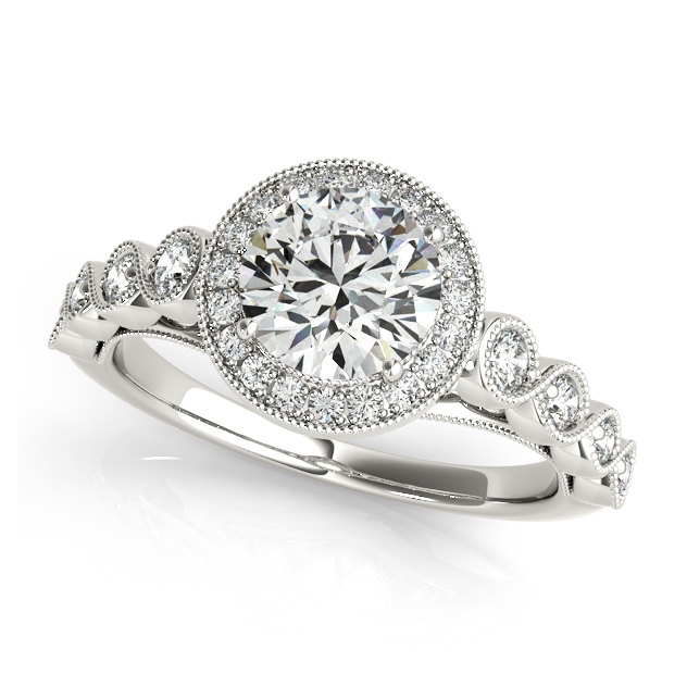 Beau Magnificent Vintage Filigree Halo Engagement Ring