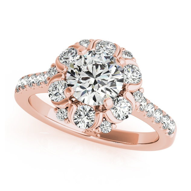 Unprecedented Floral Halo Engagement Ring Side & Accent Stones