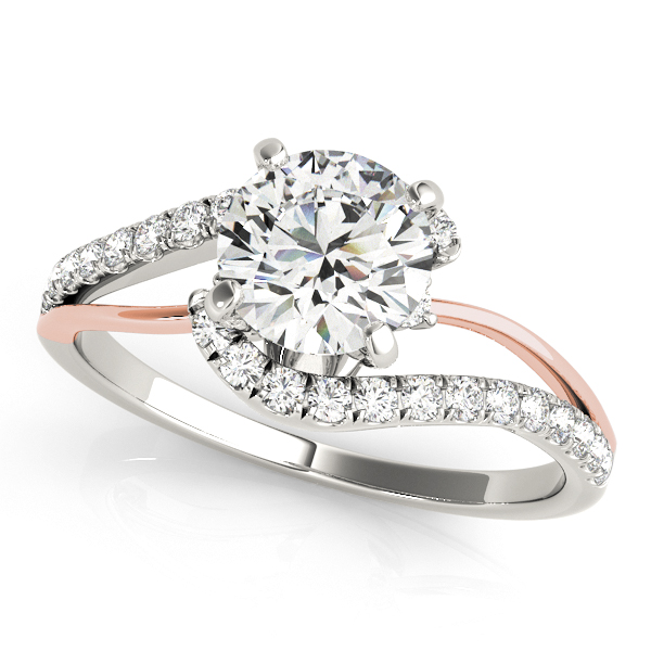 Innovative Two Tone Accent Stone Bypass Engagement Ring