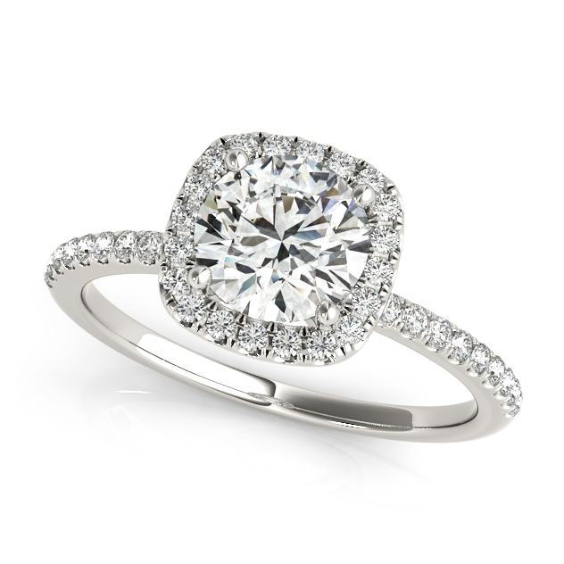 newfangled round square accent halo engagement ring - Wedding Rings Under 500