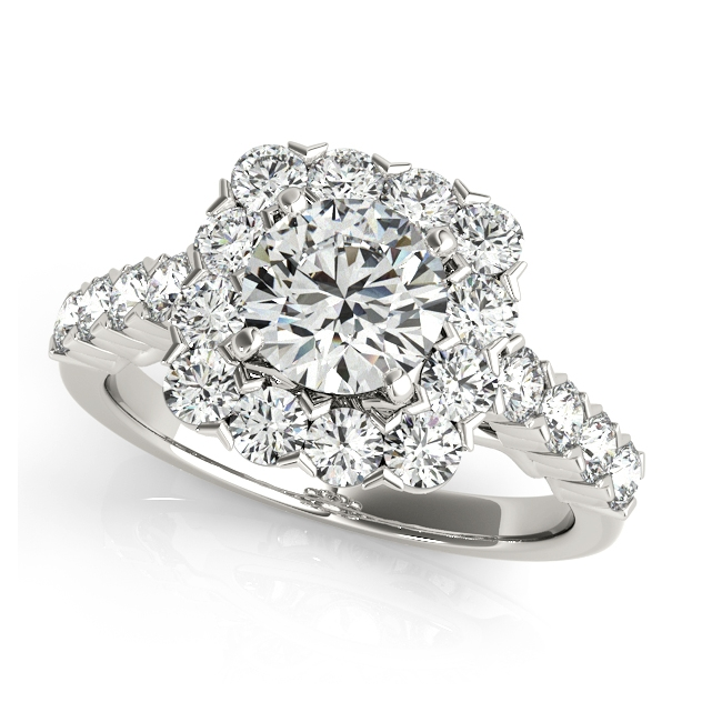 Contemporary Split Shank Flower Halo Engagement Ring