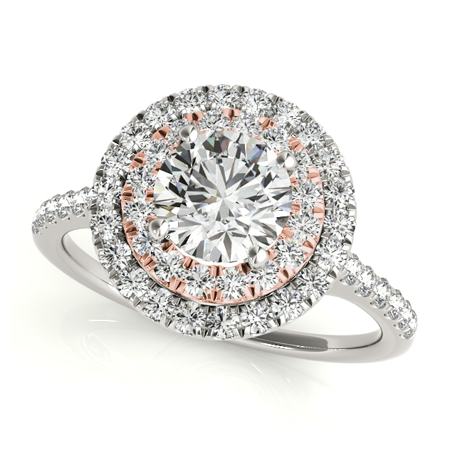 Exceptionnel Dual Halo Round Side Stone Engagement Ring