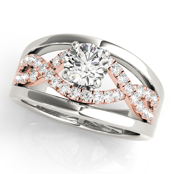 Unique Criss Cross Engagement Ring Two Tone Round Diamonds