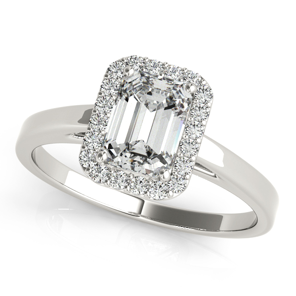 Glamorous Emerald Cut Halo Engagement Ring with Bridge