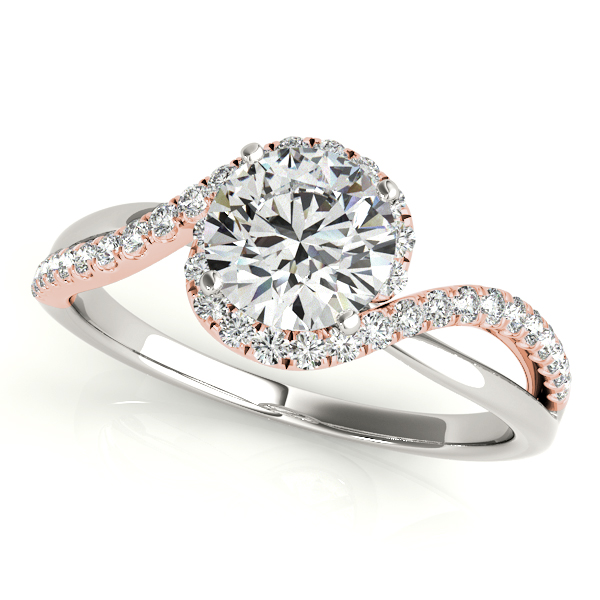 Side Stone Glamorous Bypass Engagement Ring with Split Shank