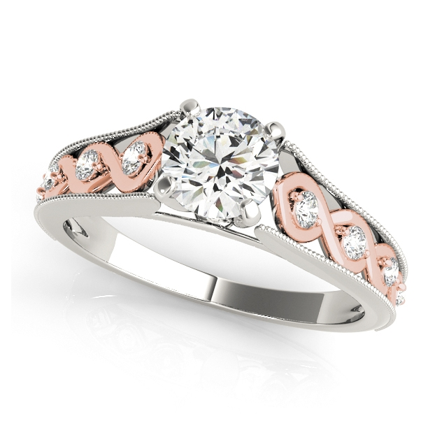 Unequaled Infinity Side Stone Engagement Ring with Filigree