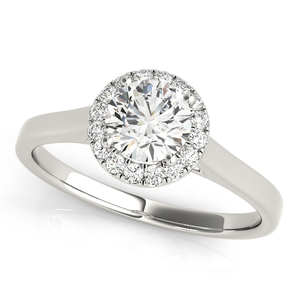 Classic Round Cut Halo Engagement Ring No Side Stones