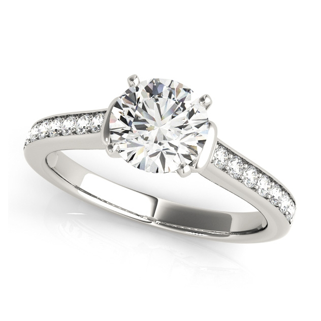 Bezel Accent Engagement Ring Round Cut Side Stones