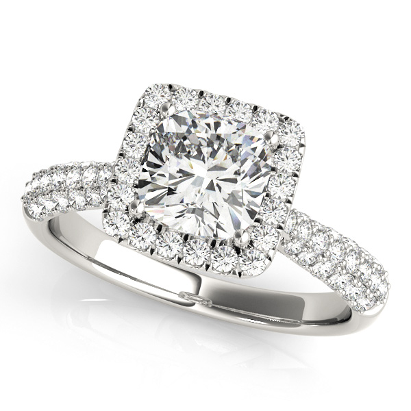 Brilliant Pave Engagement Ring with Cushion Cut Halo