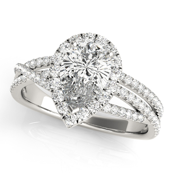 Pear Shaped Side Stone Engagement Ring Split Shank