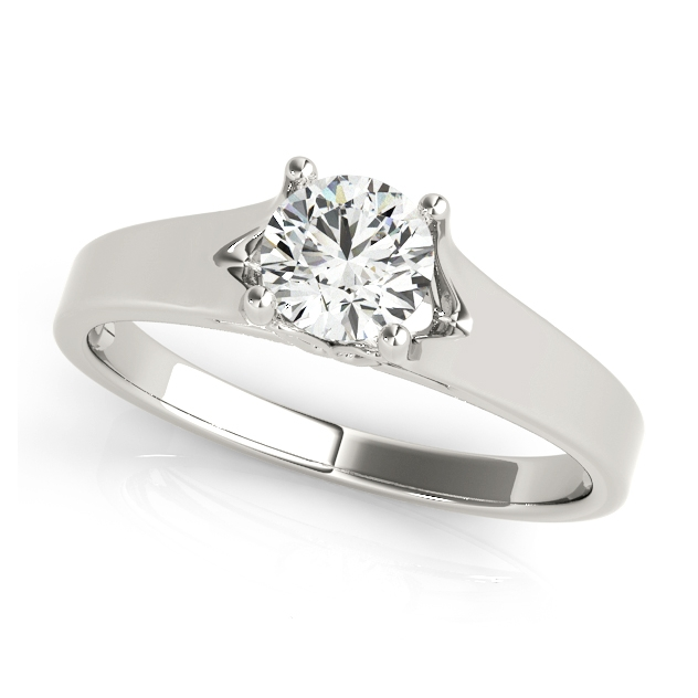 Modern V-Neck Design Solitaire Engagement Ring