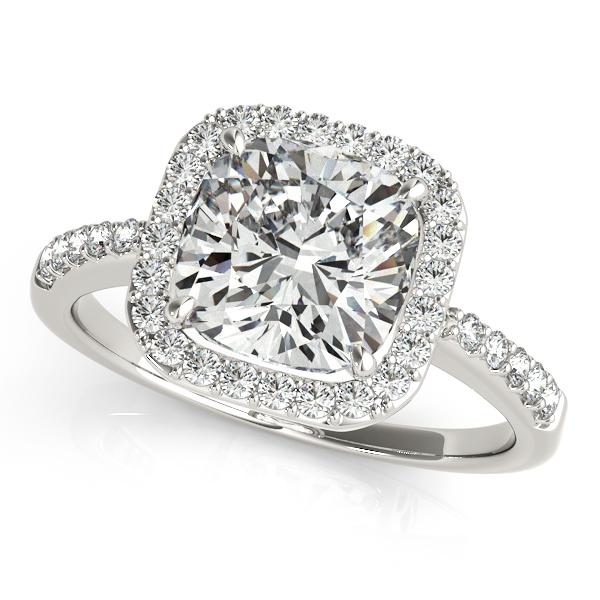 Fresh Cushion Cut Engagement Ring with Side Stones & Halo