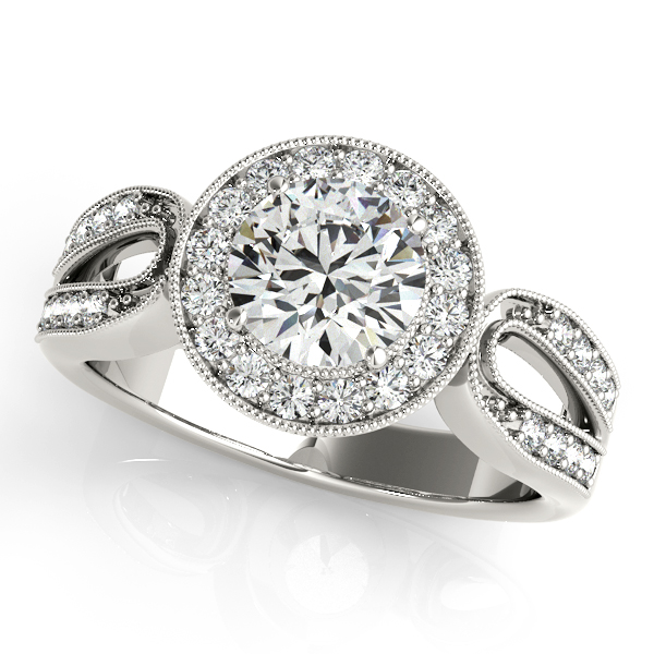 Luxuriously Artistic Curved Side Stone Halo Engagement Ring