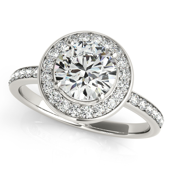 Popular Split Shank Engagement Ring with Pretty Halo
