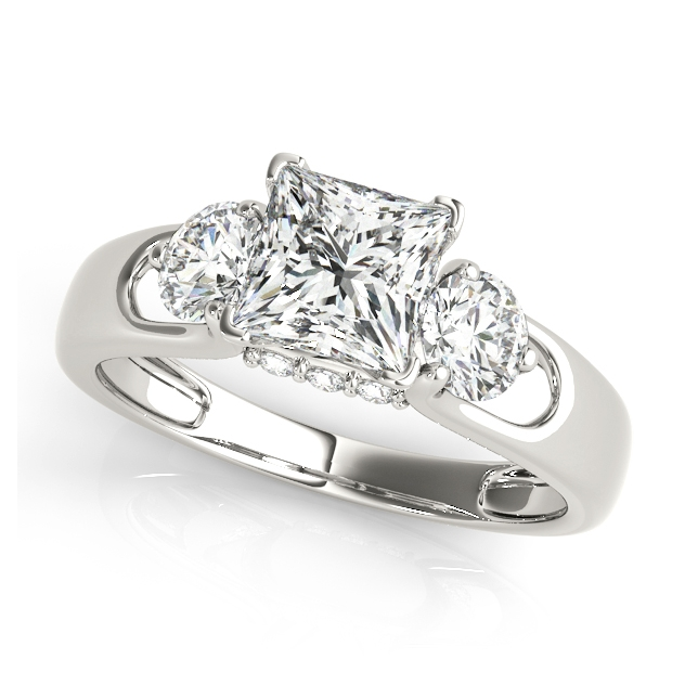 Princess Cut Three Stone Engagement Ring Round Cut Accents