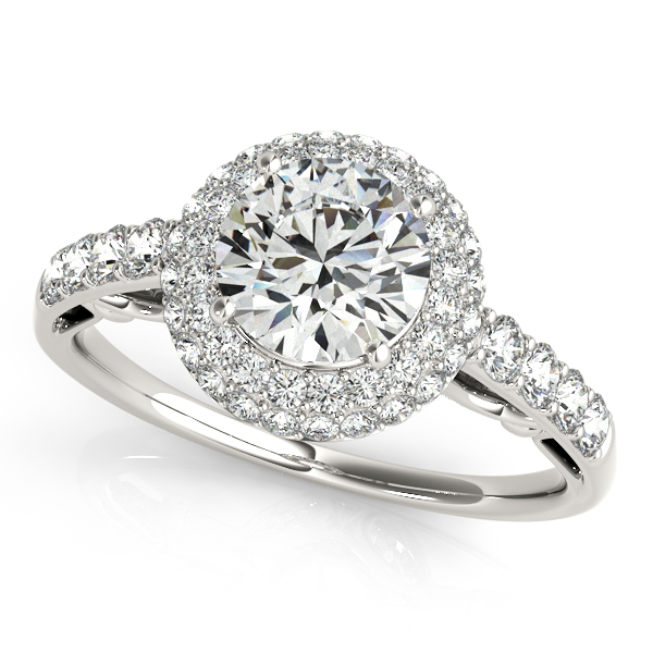 antique style duet halo side stone engagement ring - Wedding Rings Under 500