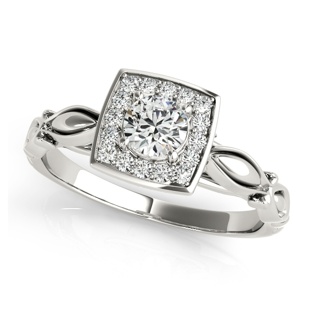 Unique Bow Tie Shank Square Halo Engagement Ring