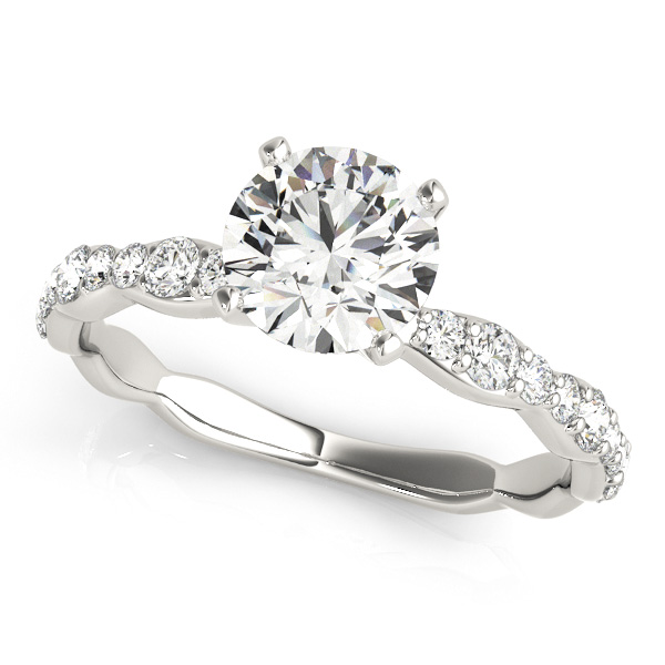 Merveilleux Curved Shank Engagement Ring Round Cut Side Stone Diamonds
