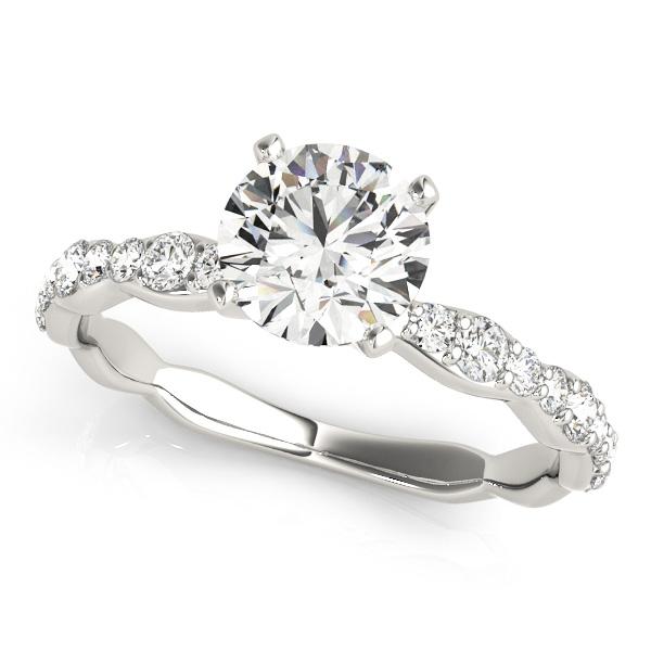 Shank Engagement Ring Round Cut Side Stone Diamonds