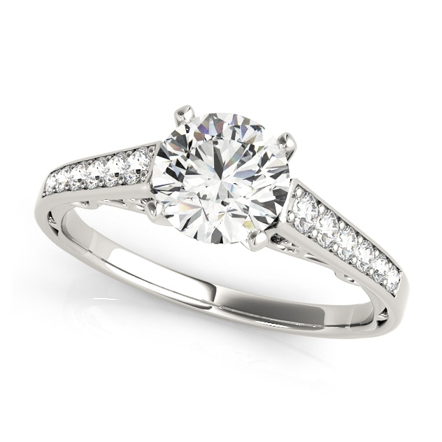 Traditional Side Stone Engagement Ring Prong Setting