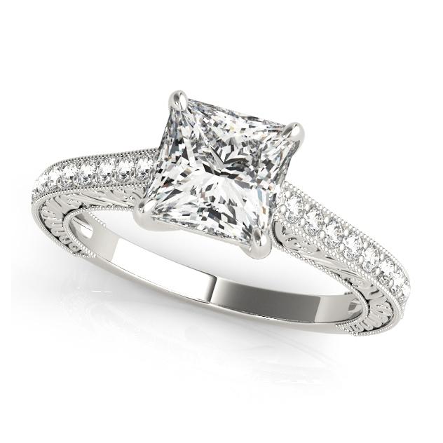 Trellis Vintage Princess Cut Engagement Ring Side Stones Filigree