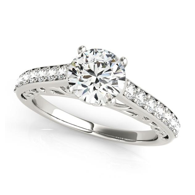 Nice Side Stone Engagement Ring with Vintage Shank Bridge