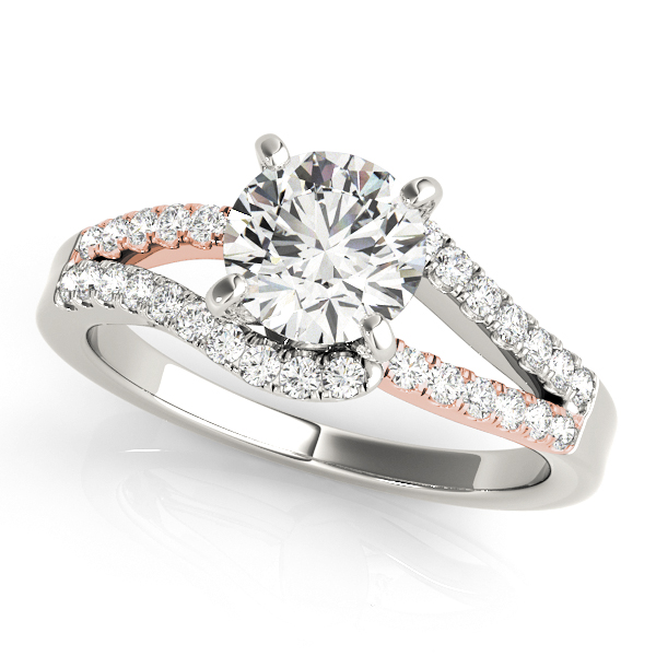Curved Engagement Ring Split Shank Side Stones